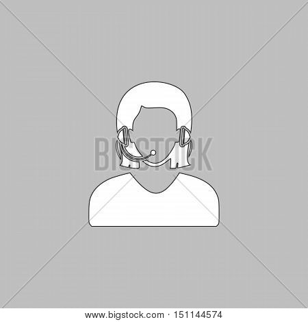 telephonist Simple line vector button. Thin line illustration icon. White outline symbol on grey background