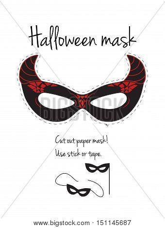 Cut out paper devil mask. Actual size. Halloween decoration.