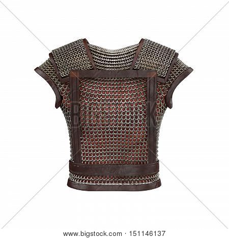 3d illustration of chain mail armor isolated background
