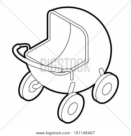 Baby carriage icon. Outline illustration of baby carriage vector icon for web