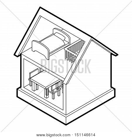 Toy house icon. Outline illustration of toy house vector icon for web