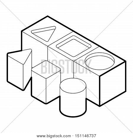 Shape sorter toy icon. Outline illustration of shape sorter vector icon for web