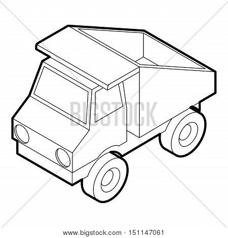 Toy truck icon. Outline illustration of toy truck vector icon for web