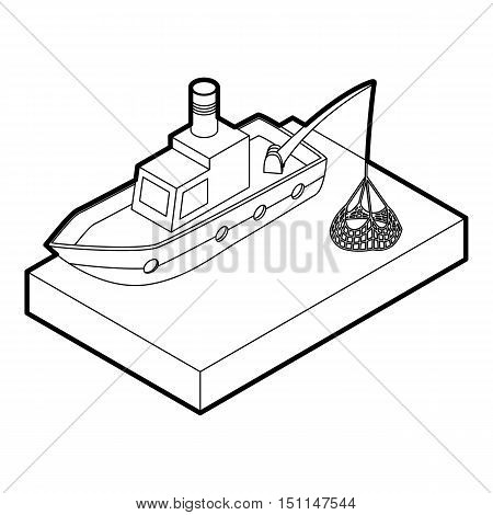 Fishing boat icon. Outline illustration of fishing boat vector icon for web