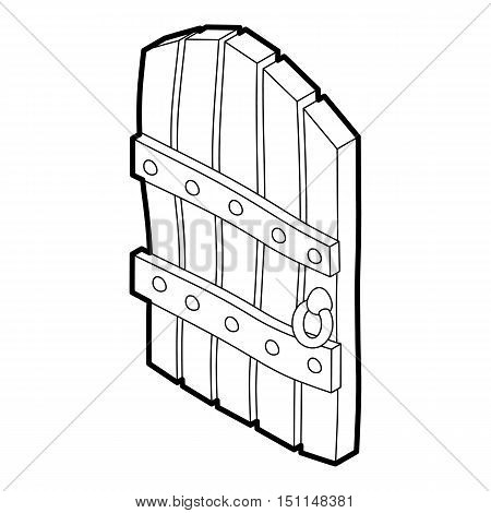Arched wooden door icon. Outline illustration of wooden door vector icon for web