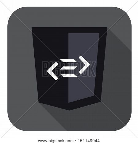 vector web development shield sign html5 tag symbol isolated icon on grey badge with long shadow