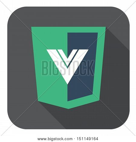 vector web development shield sign html5 javascript V letter symbol isolated icon on grey badge with long shadow