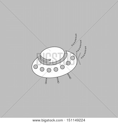 UFO Simple line vector button. Thin line illustration icon. White outline symbol on grey background