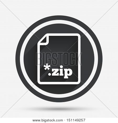Archive file icon. Download compressed file button. ZIP zipped file extension symbol. Circle flat button with shadow and border. Vector