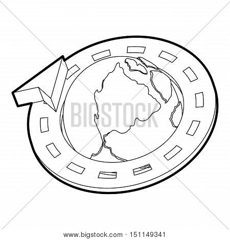 Road around earth globe icon. Outline illustration of road around earth globe vector icon for web