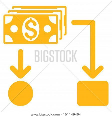 Cashflow icon. Glyph style is flat iconic symbol with rounded angles, yellow color, white background.