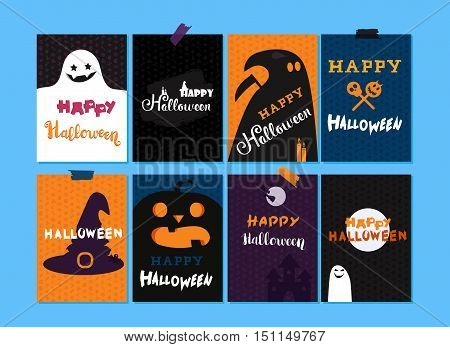 Happy Halloween Lettering Templates Set. Trick or treat concept for print fabric greeting card banner t-shirt. Poster with halloween text ghost hat candle bat castle pumpkin skull. Vector
