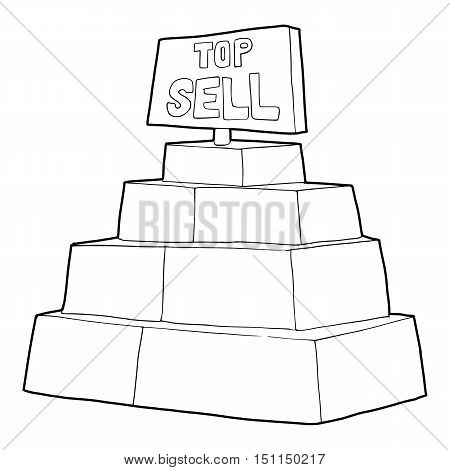 Top sale sign on a podium icon. Outline illustration of top sale sign on a podium vector icon for web
