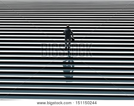 businessman running up the stairs, 3d illustration