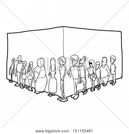 People queue icon. Outline illustration of people queue vector icon for web