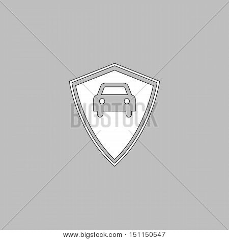 Car guard Simple line vector button. Thin line illustration icon. White outline symbol on grey background