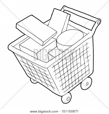 Sale shopping cart with boxes icon. Outline illustration of sale shopping cart with boxes icon vector icon for web