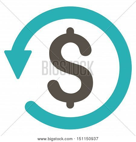 Chargeback icon. Glyph style is bicolor flat iconic symbol with rounded angles, grey and cyan colors, white background.