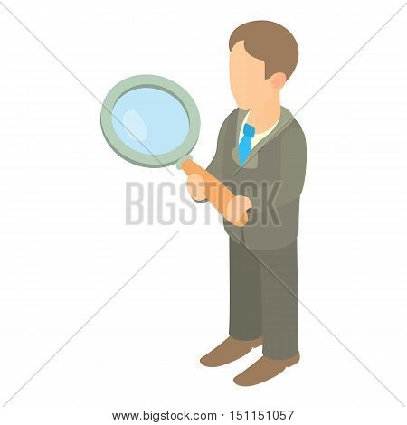 Businessman holding magnifying glass icon. Cartoon illustration of businessman holding magnifying glass vector icon for web