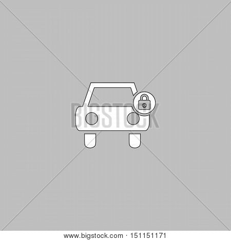 Car lock Simple line vector button. Thin line illustration icon. White outline symbol on grey background