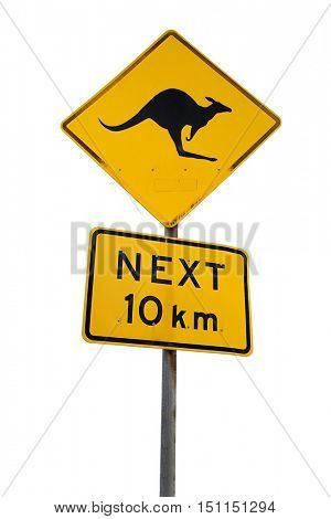 Kangaroo warning sign on the roadside