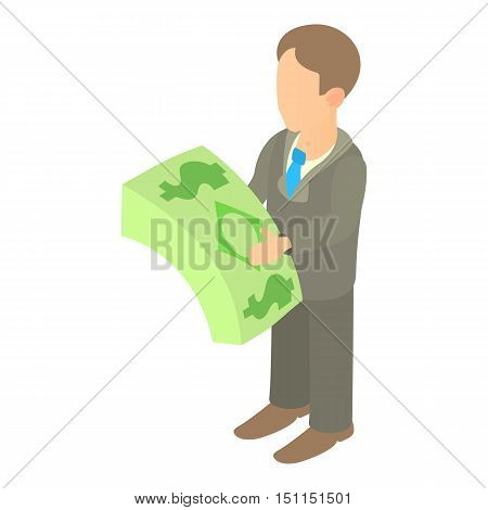Businessman holding pack of dollars icon. Cartoon illustration of businessman holding pack of dollars vector icon for web