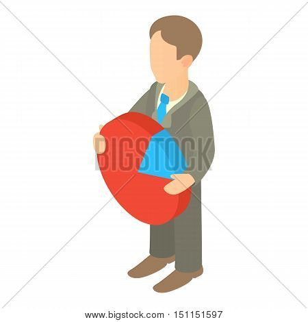 Businessman holding pie chart icon. Cartoon illustration of businessman holding pie chart icon vector icon for web