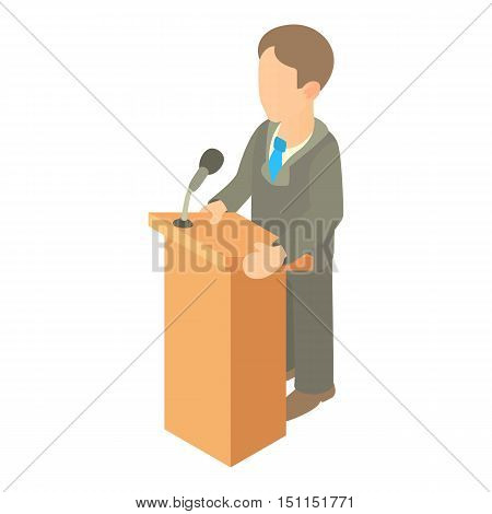 Orator speaking from tribune icon. Cartoon illustration of orator speaking from tribune vector icon for web