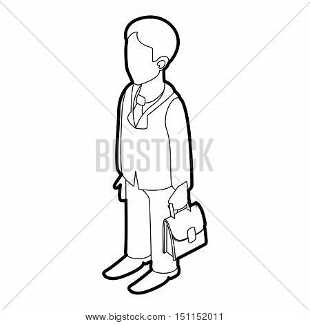 Businessman holding briefcase icon. Outline illustration of businessman and briefcase vector icon for web