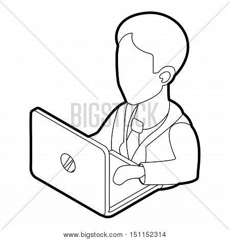 Businessman using his laptop icon. Outline illustration of businessman and laptop vector icon for web
