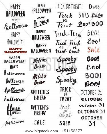Set of Modern Brush Calligraphy - Halloween Trick or Treat Boo Bats Spooky October 31 Witches Brew and hand drawn lettering typographic. Vector isolated. Use halloween cards covers tags icons and more