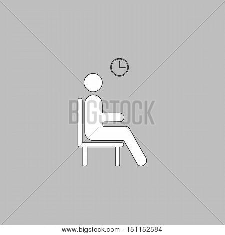 Waiting Simple line vector button. Thin line illustration icon. White outline symbol on grey background