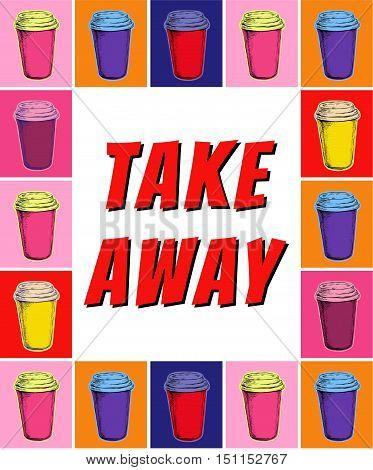 Take Away Paper Cup Coffee Menu Poster Take Away Paper Cup Coffee Menu Poster