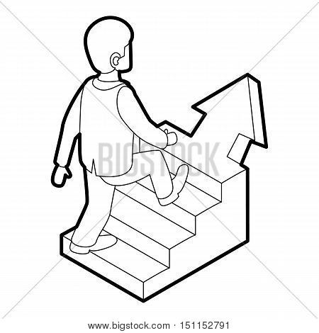 Businessman running up career ladder icon. Outline illustration of businessman and career ladder vector icon for web