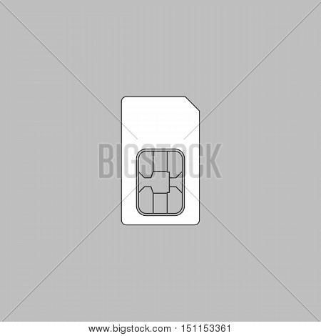 Sim card Simple line vector button. Thin line illustration icon. White outline symbol on grey background