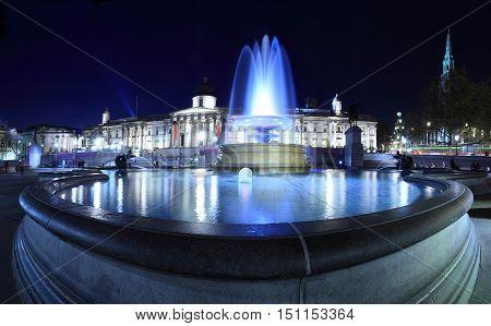 Marble Fountain at night in London's Trafalgar Square