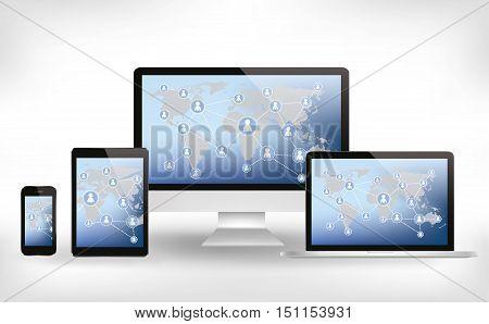Social Media Website On Modern Computer, Tablet And Mobile Phone