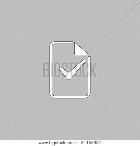 Ok glyph Simple line vector button. Thin line illustration icon. White outline symbol on grey background