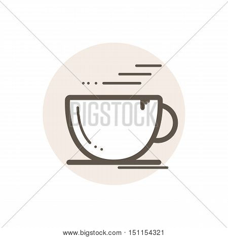 Vector icon of cup of coffee. Icon is in simple lineart style without coloring. Symbol on brown circular background.
