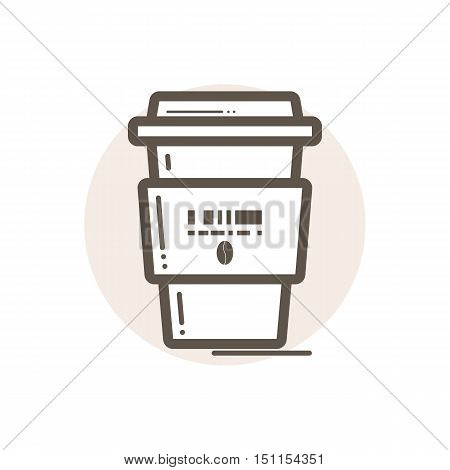 Vector icon of portable coffee cup. Icon is in simple lineart style without coloring. Symbol on brown circular background.
