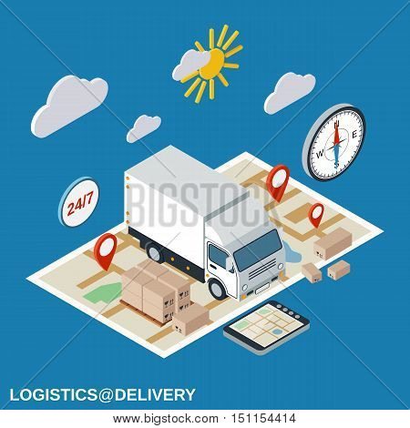Logistics, delivery, transportation flat isometric vector concept illustration