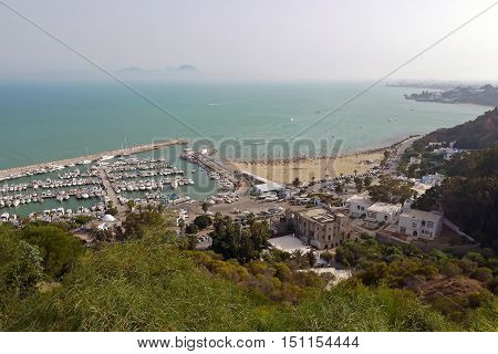 Beautiful view of Sidi Bou Said, TUNISIA.