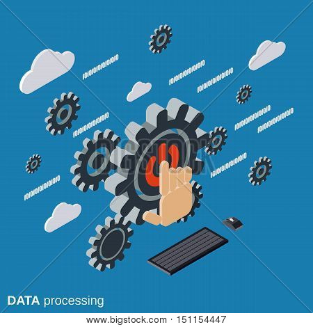Data processing, cloud computing flat isometric vector concept illustration