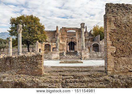 View of Ruins of Villa Adriana in Tivoli, Italy