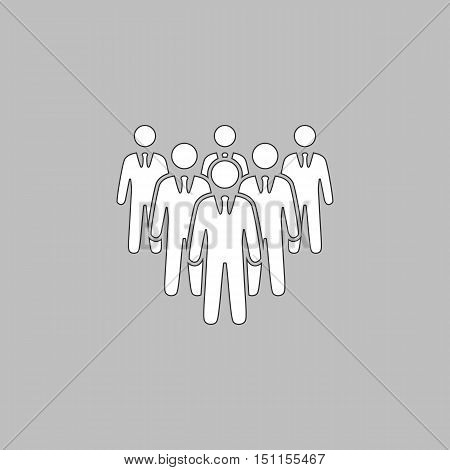 team Simple line vector button. Thin line illustration icon. White outline symbol on grey background