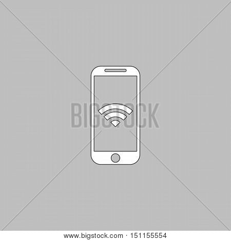 Wifi smartphone Simple line vector button. Thin line illustration icon. White outline symbol on grey background