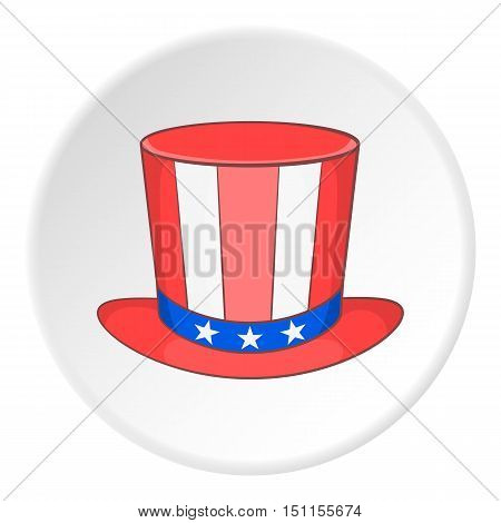 Top hat in the USA flag colors icon. cartoon illustration of top hat vector icon for web