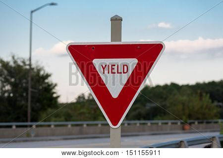 Yeild Sign on Bridge in red instead of yellow