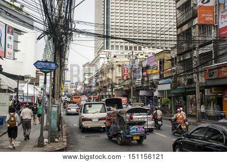 Streets of Bangkok Thailand Rush Hour Daily Business 05.10.2015