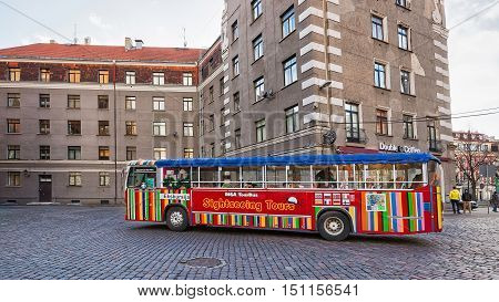 Excursion Touristic Bus In The Old City In Riga